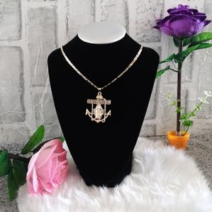 OUR LADY OF GUADALUPE ANCHOR NECKLACE. ORO LAMINAD